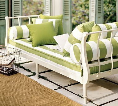Pottery barn camille lounger green stripe