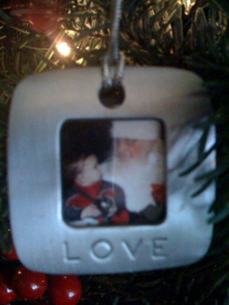Christmas ornament photo with santa