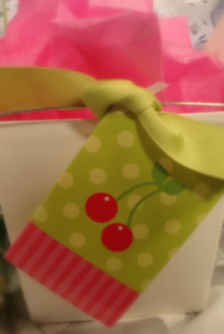 Take out box with gift tag
