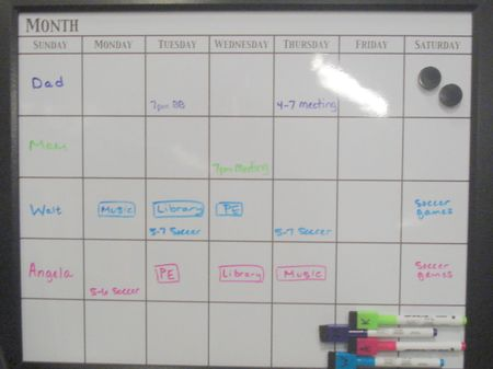 Monthly calendar used for weekly schedule