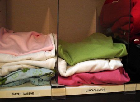 Organizing kids closets amnw shirt shelf with labels